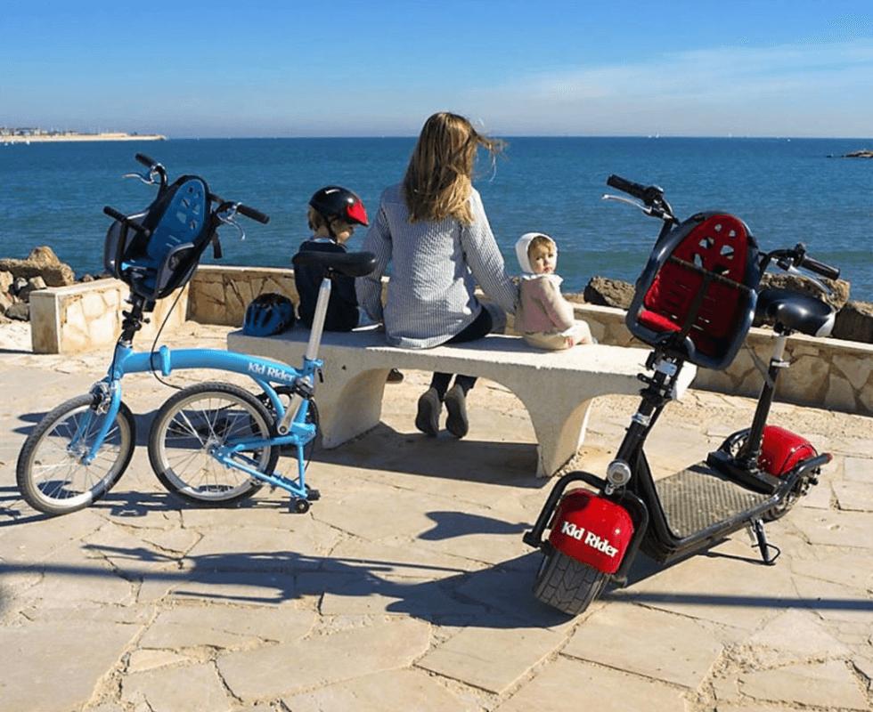 bicicleta plegable y patinete electrico con silla para niño integrada marca Kid rider